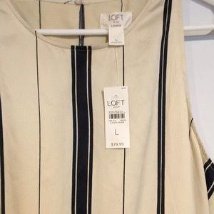 LOFT Dresses - Loft NWT Cream and navy striped dress Sz Large